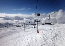 Gondola and chair lift at ski resort Royalty Free Stock Images