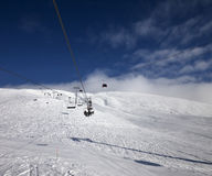Gondola and chair lift at ski resort in nice day Stock Photography