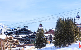 Gondola of  Chenus  lift. Ski Resort Courchevel 1850 m. In wintertime. France Royalty Free Stock Photography