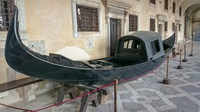 Gondola in Courtyard of Doge`s Palace or Palazzo Ducale in Venice, Italy Stock Photo