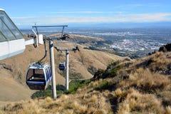Gondola di Christchurch dalla cima del Port Hills, Nuova Zelanda fotografia stock libera da diritti