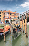 Gondola dock at Rialto Royalty Free Stock Photos