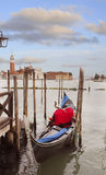 Gondola at the Dock at Sunset, Venice, Italy Stock Images