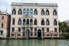 Gondola Docks Outside Old Venetian Building Royalty Free Stock Photos