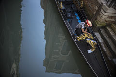 Gondola Driver and Water Royalty Free Stock Photography
