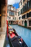 Gondola embanked on canal Royalty Free Stock Photo