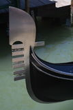 Gondola Ferro. Closeup of the ferro on a gondola, floating in water by a dock Stock Photo