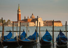 Gondola in front of basilica San Giorgio Maggiore Royalty Free Stock Photography