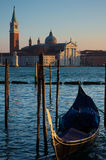 Gondola in front of San Giorgio Stock Photography
