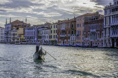 Gondola and gondolier on the Grand Canal, Venice Stock Photos