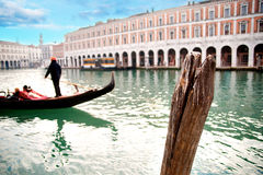Gondola with gondolier Royalty Free Stock Photo