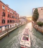 Gondola with gondolier in Venice, Italy Royalty Free Stock Images