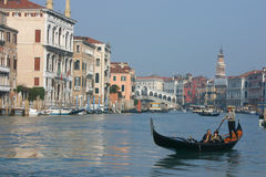 In gondola on the grand canal Stock Photography