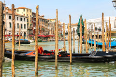 Gondola on the Grand Canal berth in Venice, Italy Royalty Free Stock Images