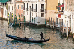 Gondola on the Grand Canal in the early evening at the sunset Royalty Free Stock Image
