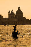 Gondola on the Grand Canal in the evening hour, Venice, Italy, E Stock Image