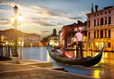 Gondola on Grand Canal Royalty Free Stock Images