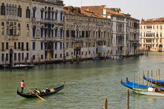 Gondola in the Grand Canal of Venice Stock Photos