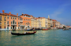 Gondola on Grand Canal in Venice, Italy. Stock Photography
