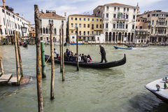 Gondola. Grand Canal and gondola in Venice, Italy Stock Image