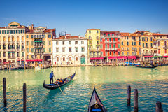 Gondola on Grand canal in Venice Royalty Free Stock Image
