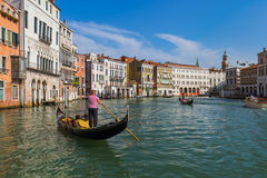 Gondola in Grand Canal at Venice Italy Stock Photography