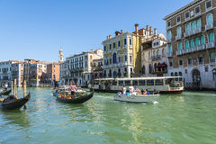 Gondola on grand canal Stock Images