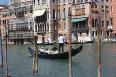 Canal Grande. Gondola on the Grand Canal in Venice Italy Stock Image