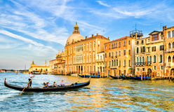 Gondola on the Grand Canal in Venice, Italy stock photography