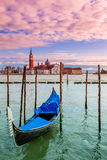 Gondola on Grand Canal in Venice, Italy. Royalty Free Stock Photo