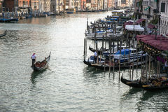 Gondola on the Grand Canal, Venice, Italy. Gondola traveling down the grand canal in venice, italy Stock Photography