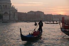Gondola in the Grand Channel. Near Basilica Santa Maria della Salute in Dorsoduro, Venice Royalty Free Stock Image