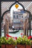 Gondola and houses in Venice Stock Photo