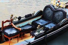 Gondola. Interier of luxury gondola in Venice stock image