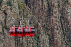 Gondola lift cable car - royal gorge colorado. Red gondola lift cable car at the royal gorge near canon city colorado royalty free stock image