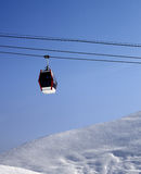 Gondola lift and off piste slope at sun morning Stock Image