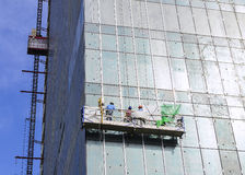 The gondola lift or scaffold for glass cleaner Stock Photo