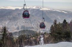 Gondola lift in Sinaia, Romania Royalty Free Stock Images
