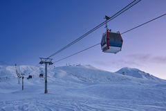 Gondola lift in the ski resort in the early morning Stock Photography