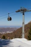 Gondola lift in the ski resort Royalty Free Stock Photo