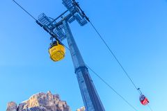 The gondola lift. Ski resort of Selva di Val Gardena, Italy Royalty Free Stock Images