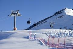 Gondola lift on ski resort at sun day Royalty Free Stock Photos