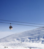 Gondola lift and ski slope at nice sun day Stock Photography