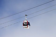 Gondola lift with ski and snowboards Royalty Free Stock Photos