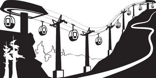 Gondola lift with stations Stock Image