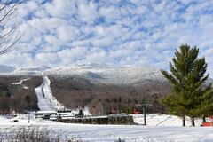Gondola lift at Stowe Ski Resort in Vermont, view to the Mansfield mountain slopes