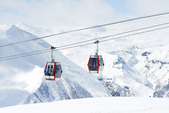 The gondola lift to the ski resort Stock Photo
