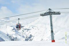 The gondola lift to the ski resort Royalty Free Stock Images