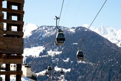 Verbier / Switzerland - March 14 2018 : Gondola lift in Verbier Switzerland Valais Médran Mountain. Gondola Lift in Verbier Switzerland in march 2018 on a sunny Royalty Free Stock Photos