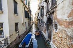 Gondola. Little Canal and gondola in Venice, Italy Royalty Free Stock Photos